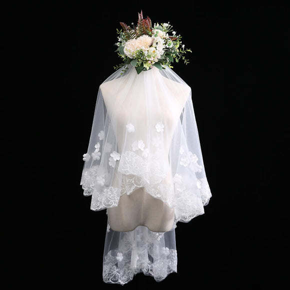Midi Length Tulle Wedding Bridal Veil with Lace Appliqués