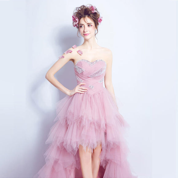 Lovely Pleated Beaded Asymmetrical High Low Sweet Gradation Dress