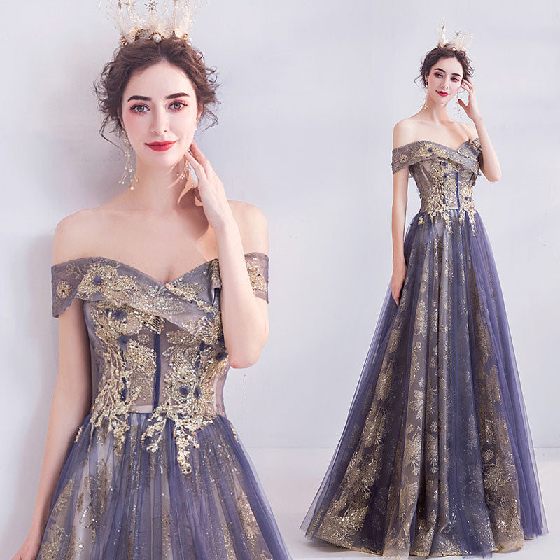 NZ Bridal Dusty Purple Off The Shoulder Short Sleeves Gold Beading Embroidery A-line Gown Wedding Dresses
