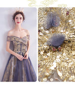Dusty Purple Off The Shoulder Gold Beading Embroidery Formal Gown