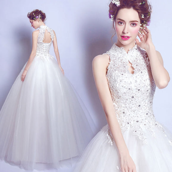 Stand Collar Hollowed Back Sleeveless Beaded Wedding Gown