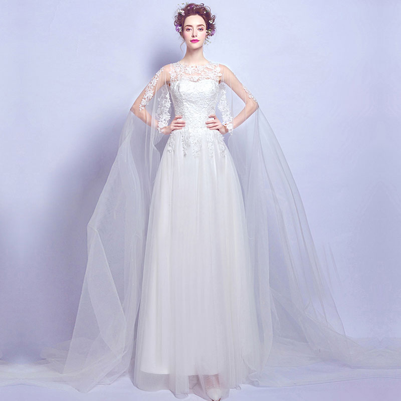 NZ Bridal Lace Applique Tulle Wrap Train Wedding Dress