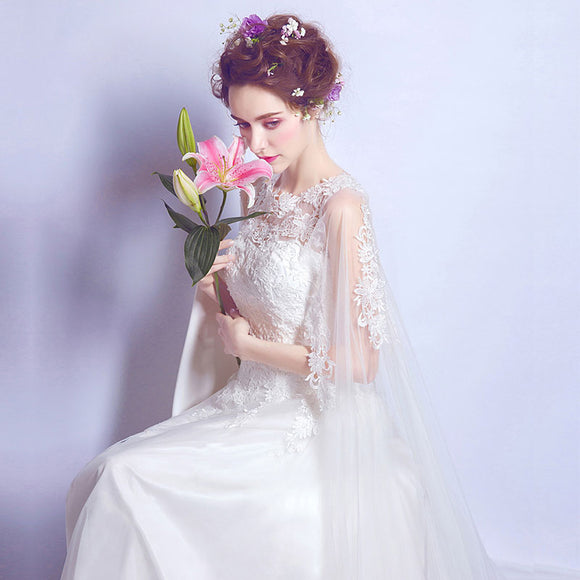 Lace Applique Tulle Wrap Train Wedding Dress