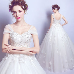 Cap Sleeves Sweetheart Flowers Wedding Bridal Gown