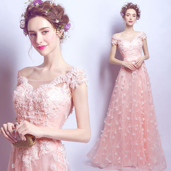 Elegant Pink Cap Sleeves Embroidery Formal Evening Dress