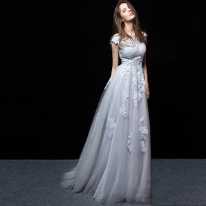 Padded Lace Appliqués Sheer Bodice Blue Wedding Dress