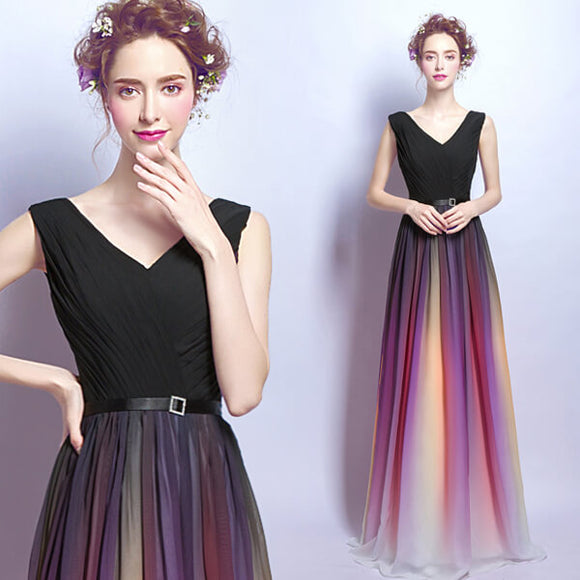 Black Gradient V Neck Pleated Flowing Maxi Evening Dress