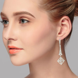 Wedding Square Earrings with Rhinestones