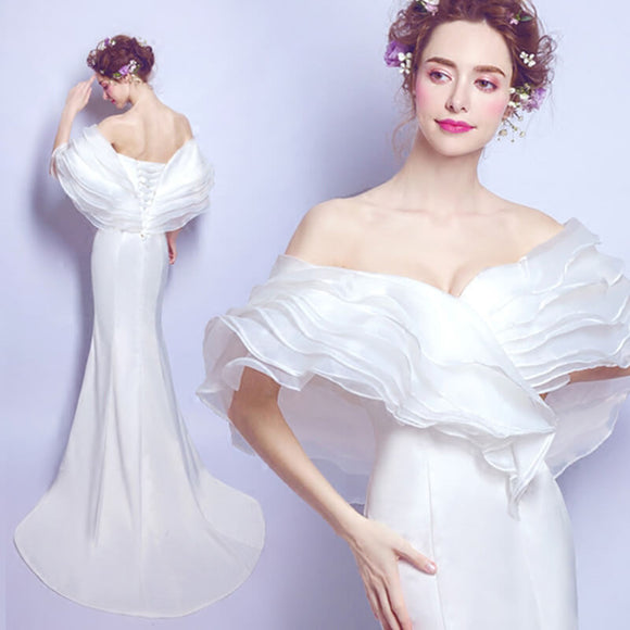 Designed Off The Shoulder Multi Layers Ruffles Neckline Slim Mermaid Bridal Dress