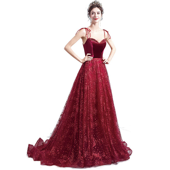 Burgundy Tie Strap Sequin Beaded Bodice Velvet Ball Gown