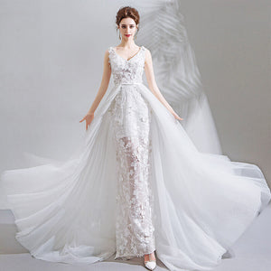 Flower Wrap Train Bridal Dress for Wedding