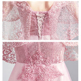 Lace Embroidery Shawl Sleeves A-line Formal Gown