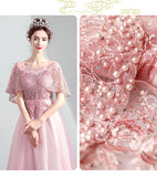 NZ Bridal Lace Embroidery Shawl Sleeves Scoop Neckline Floor Length Formal Gown Party Dresses