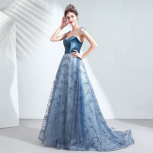 Ink Blue Tie Strap Sequin Beaded Bodice Velvet Ball Gown
