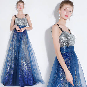 Sexy Gradient Silver Blue Sequined Formal Party Ball Gown
