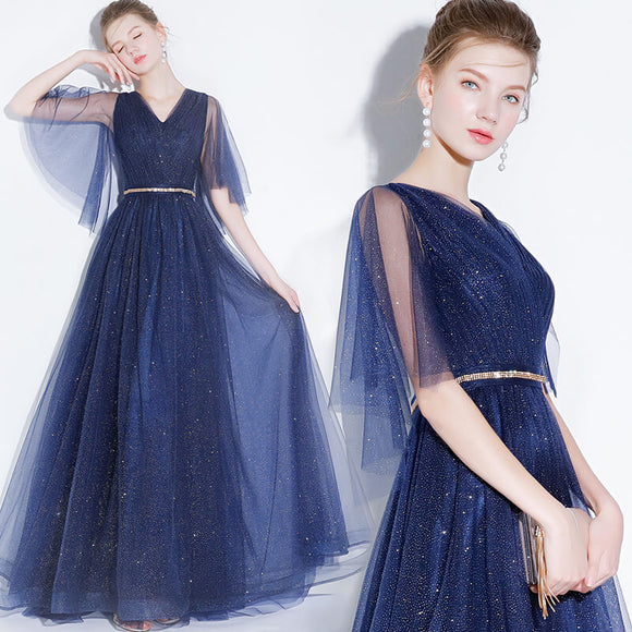 Amazing Starry Sky Bling Pleated Blue A Line Homecoming Dress