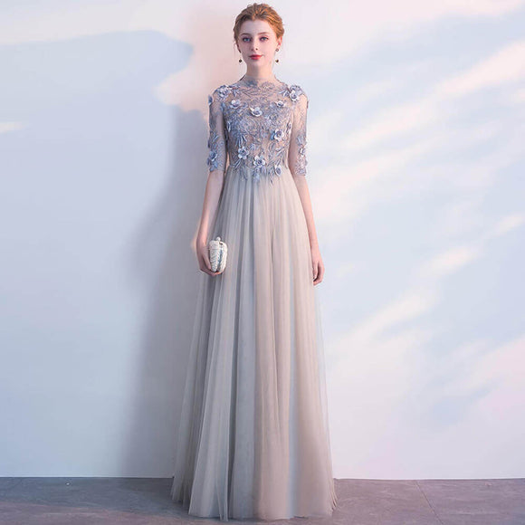 Grey Sheer Embroidery Fantastic Tulle Long Formal Party Dress