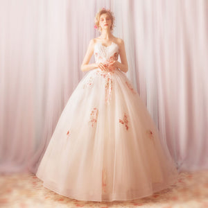 Fairy Lace Embroidery A line Fluffy Wedding Gown for Brides