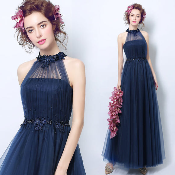 Halter Pearls Hollow Out Back Tulle Formal Evening Dress