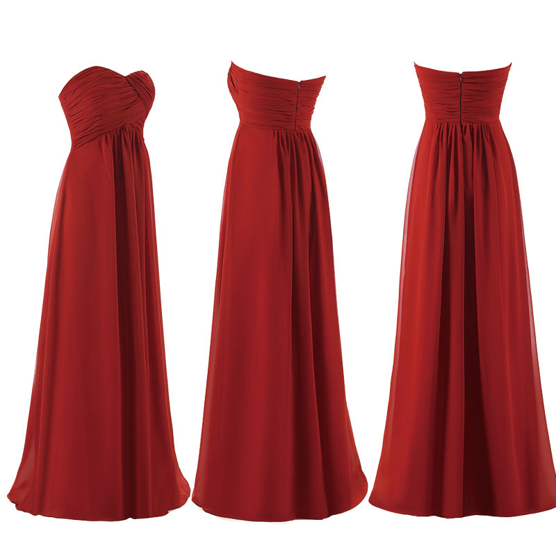 Strapless High Waist Chiffon Bridesmaid Dress