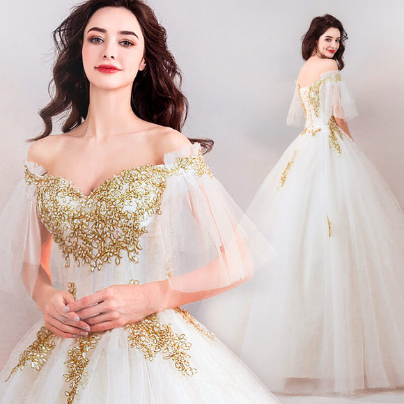 Gold Luxury Vintage Embroidery Ruffle Bridal Gown