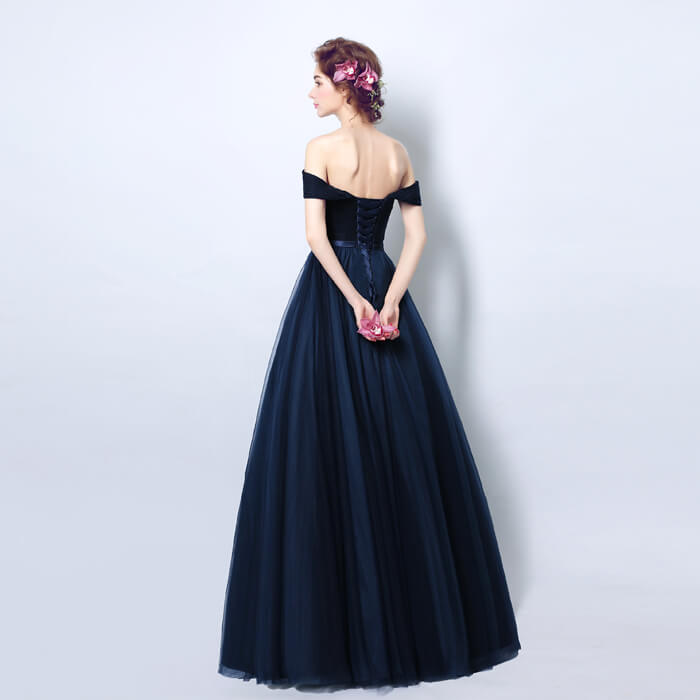 Off The Shoulder Navy Blue Pleated Graduation Homecoming Gown