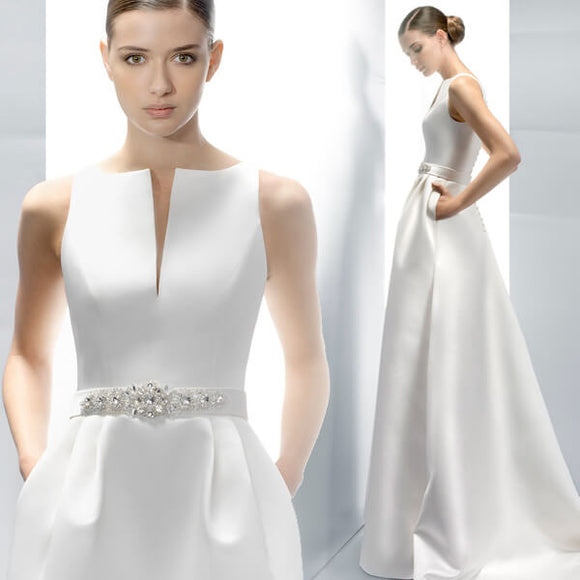 Satin Quality Bridal Dress for Wedding with Pocket