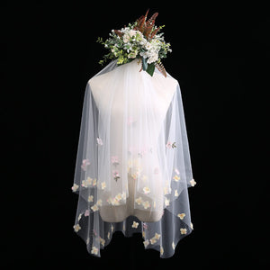 Midi Length Tulle Wedding Bridal Veil with Colorful Flowers