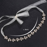 Sun Flowers Crystal Satin Wedding Hair Sash Belt for Brides