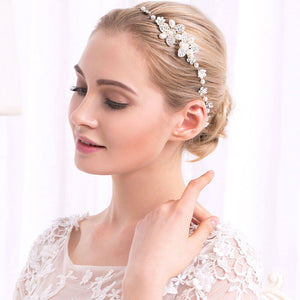 Flowers Crystal & Pearls Satin Wedding Hair Sash Belt for Brides