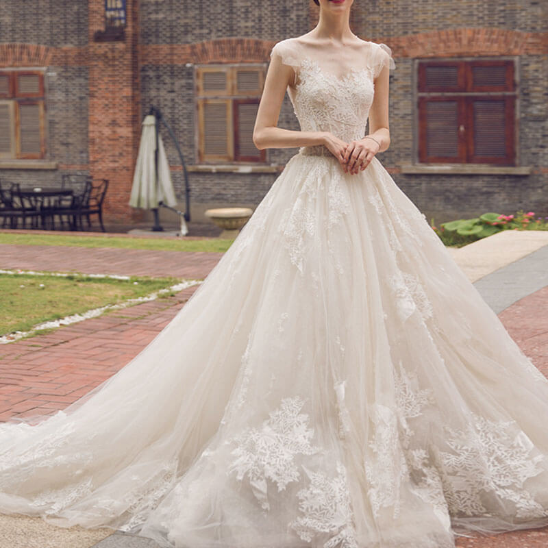 Wedding Gowns For Bigger Brides: Stunning Tulle Printed Flower Lace Big Train Wedding Dress