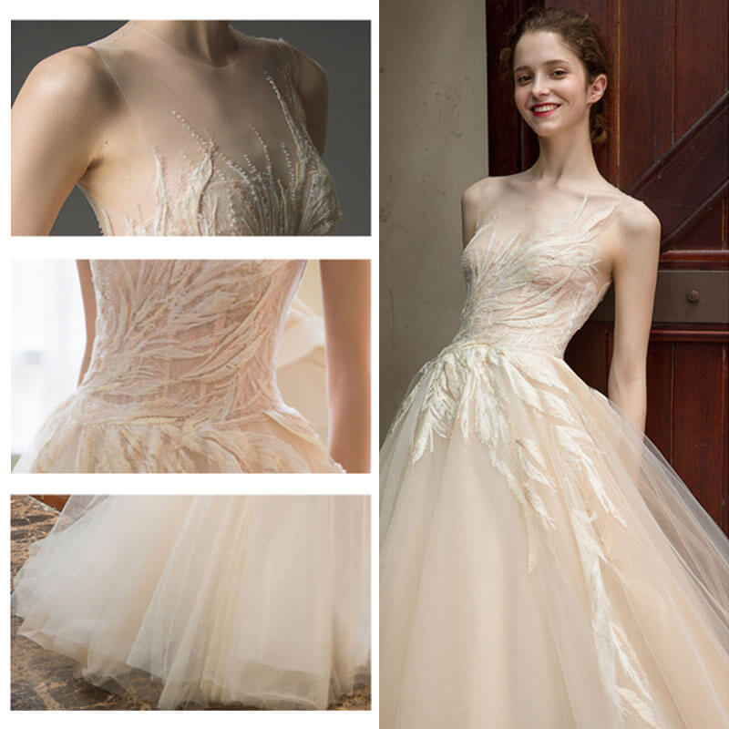 See Through Wedding Gown: Champagne Simple Leaves Printed Lace Tulle See-Through