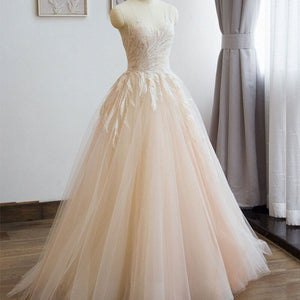 Champagne Simple Leaves Printed Lace Tulle See-Through Wedding Dress