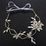 Leaves Crystal & Pearls Wedding Hair Sash Belt for Brides