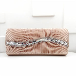 Pleated Satin Evening Handbag Clutch with Rhinestone