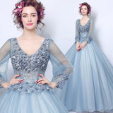 Handcraft Flowers Loose Sleeves Dusty Blue A line Gown
