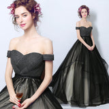 Black Off The Shoulder Puffy Ruffles Skirt Graduation Gown