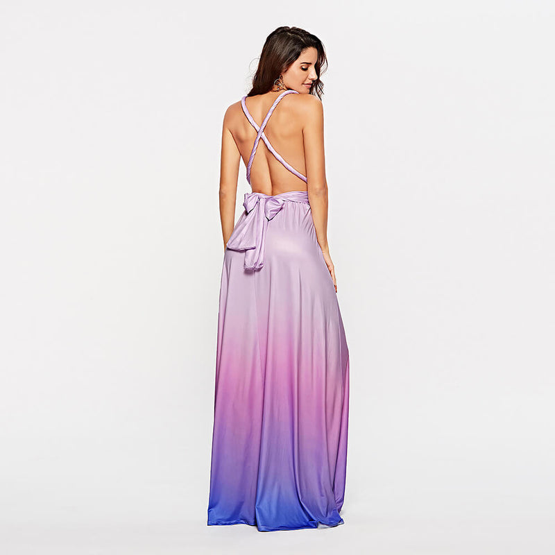 Women's Gradient Purple Infinity Wrap Multi Ways Convertible Boho Maxi Bridesmaid Dress