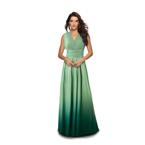 Women's Gradient Green Infinity Wrap Multi Ways Convertible Boho Maxi Bridesmaid Dress