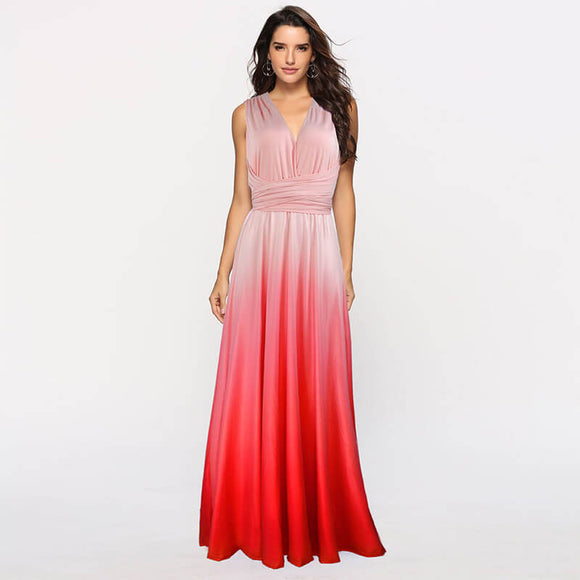Women's Gradient Pink Infinity Wrap Multi Ways Convertible Boho Maxi Bridesmaid Dress