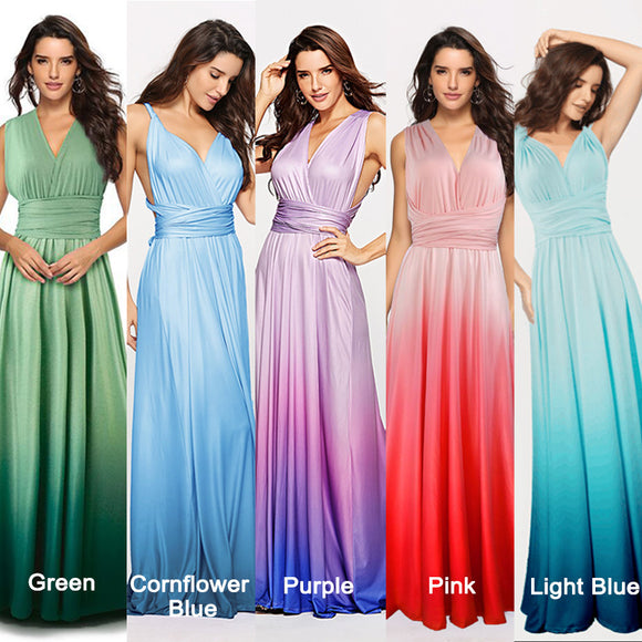 Women's Gradient Light Blue Infinity Wrap Multi Ways Convertible Boho Maxi Bridesmaid Dress