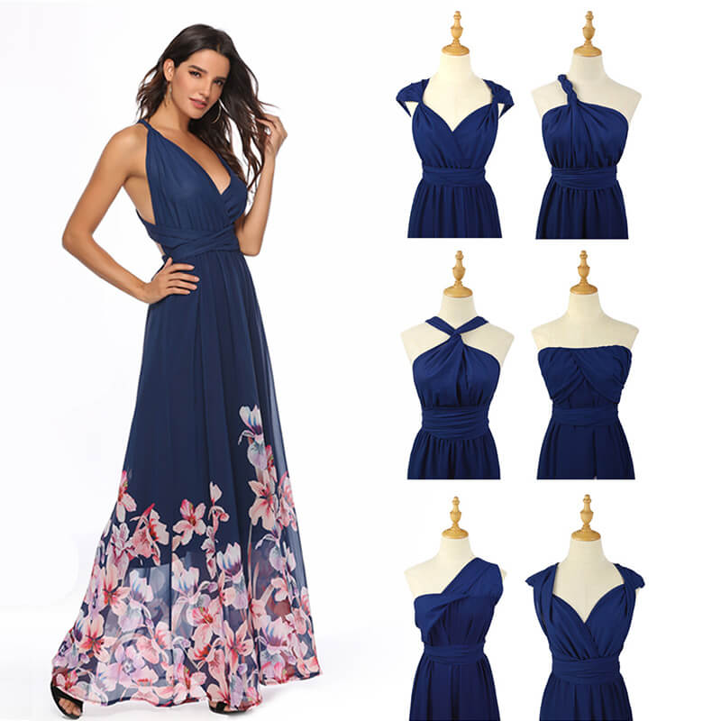 Printed Floral Infinity Wrap Bridesmaid Dresses Endless Way Convertible Maxi Dress