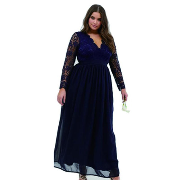 NZBridal Large Size Sexy V Neck Backless Lace Longth Sleeves Spell Chiffon Dress Long Skirt Cocktail Party Dresses