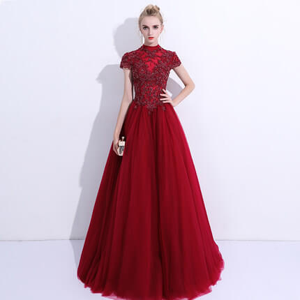 Vintage Formal Evening Dress Embroidery Lace