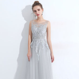 Light Grey Women Formal Evening Dress With Feather