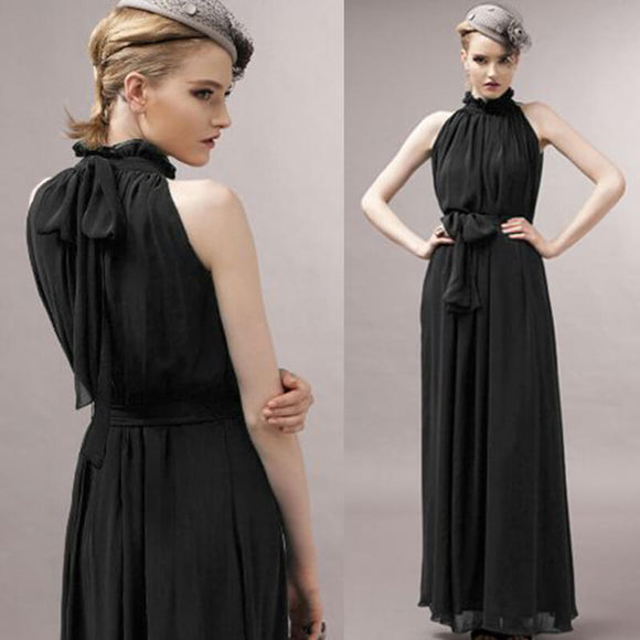 Black Pleated Flowing Chiffon Holiday Beach Maxi Dress