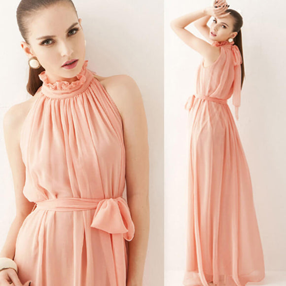 Peach Pleated Flowing Chiffon Holiday Beach Maxi Dress