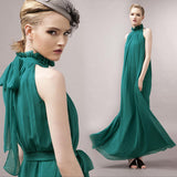 Khaki Pleated Flowing Chiffon Holiday Beach Maxi Dress