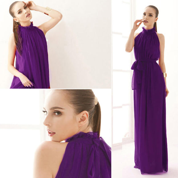 2018 Purple Pleated Flowing Chiffon Holiday Beach Maxi Dress