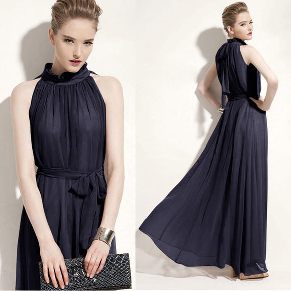 Navy Blue Pleated Flowing Chiffon Holiday Beach Maxi Dress